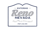 Reno, Nevada - Now Entering (Blue) Poster by  Lantern Press