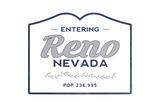 Reno, Nevada - Now Entering (Blue) Poster by  Lantern Press
