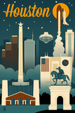 Houston, Texas - Retro Skyline Posters by  Lantern Press