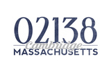 Cambridge, Massachusetts - 02138 Zip Code (Blue) Print by  Lantern Press