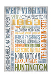 West Virginia - Barnwood Typography Posters by  Lantern Press