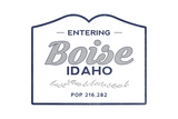 Boise, Idaho - Now Entering (Blue) Prints by  Lantern Press
