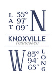Knoxville, Tennessee - Latitude and Longitude (Blue) Posters by  Lantern Press