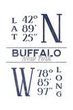 Buffalo, New York - Latitude and Longitude (Blue) Prints by  Lantern Press