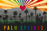 Palm Springs, California - Palm Trees and Mountains - Rainbow Prints by  Lantern Press