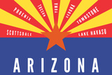 Arizona State Flag with Cities Poster by  Lantern Press