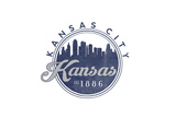 Kansas City, Kansas - Skyline Seal (Blue) Art by  Lantern Press
