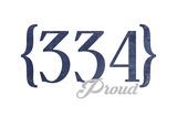 Birmingham, Alabama - 334 Area Code (Blue) Art by  Lantern Press