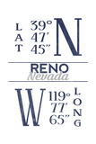 Reno, Nevada - Latitude and Longitude (Blue) Art by  Lantern Press