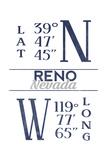 Reno, Nevada - Latitude and Longitude (Blue) Art by  Lantern Press