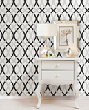 Black and Silver Lattice Peel & Stick Wallpaper Wall Decal