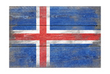 Iceland Country Flag - Barnwood Painting Print by  Lantern Press