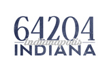 Indianapolis, Indiana - 64204 Zip Code (Blue) Prints by  Lantern Press
