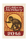 Year of the Monkey - 2016 - Woodblock Posters by  Lantern Press