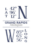 Grand Rapids, Michigan - Latitude and Longitude (Blue) Posters by  Lantern Press