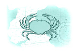 Crab - Teal - Coastal Icon Posters by  Lantern Press