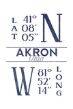 Akron, Ohio - Latitude and Longitude (Blue) Art by  Lantern Press