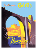 Toledo, Spain - The Imperial City - Vuele Por (Fly by) Iberia Air Lines of Spain Posters by  Pacifica Island Art