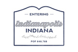 Indianapolis, Indiana - Now Entering (Blue) Poster by  Lantern Press