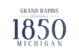 Grand Rapids, Michigan - Established Date (Blue) Poster by  Lantern Press