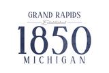 Grand Rapids, Michigan - Established Date (Blue) Poster by  Lantern Press