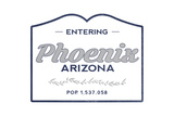 Phoenix, Arizona - Now Entering (Blue) Posters by  Lantern Press