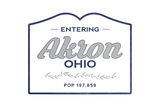 Akron, Ohio - Now Entering (Blue) Prints by  Lantern Press
