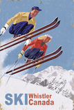 Ski Whistler, Canada - Vintage Skiers Art by  Lantern Press