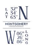 Montgomery, Alabama - Latitude and Longitude (Blue) Prints by  Lantern Press