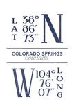 Colorado Springs, Colorado - Latitude and Longitude (Blue) Poster by  Lantern Press