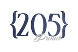 Birmingham, Alabama - 205 Area Code (Blue) Prints by  Lantern Press