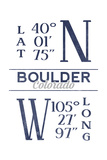 Boulder, Colorado - Latitude and Longitude (Blue) Posters by  Lantern Press