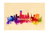 Providence, Rhode Island - Skyline Abstract Prints by  Lantern Press
