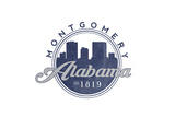 Montgomery, Alabama - Skyline Seal (Blue) Poster by  Lantern Press