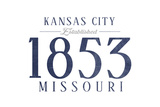 Kansas City, Missouri - Established Date (Blue) Prints by  Lantern Press