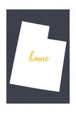 Utah - Home State - White on Gray Print by  Lantern Press