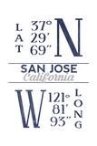 San Jose, California - Latitude and Longitude (Blue) Prints by  Lantern Press