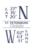 St. Petersburg, Florida - Latitude and Longitude (Blue) Posters by  Lantern Press