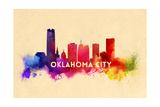 Oklahoma City, Oklahoma - Skyline Abstract Art by  Lantern Press