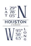 Houston, Texas - Latitude and Longitude (Blue) Prints by  Lantern Press