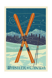 Whistler, Canada - Crossed Skis - Letterpress Prints by  Lantern Press