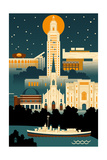 Baton Rouge, Louisiana - Retro Skyline (no text) Prints by  Lantern Press