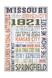 Missouri - Barnwood Typography Poster by  Lantern Press