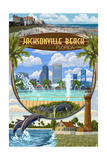 Jacksonville Beach, Florida - Montage Scenes Prints by  Lantern Press