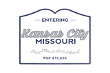 Kansas City, Missouri - Now Entering (Blue) Print by  Lantern Press