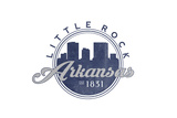 Little Rock, Arkansas - Skyline Seal (Blue) Prints by  Lantern Press
