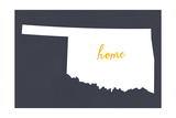 Oklahoma - Home State - White on Gray Posters by  Lantern Press