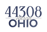 Akron, Ohio - 44308 Zip Code (Blue) Poster by  Lantern Press