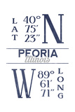 Peoria, Illinois - Latitude and Longitude (Blue) Prints by  Lantern Press