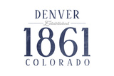 Denver, Colorado - Established Date (Blue) Prints by  Lantern Press